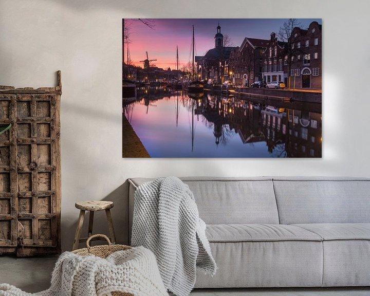 Sfeerimpressie: Lange Haven Schiedam bij zonsondergang van Ilya Korzelius