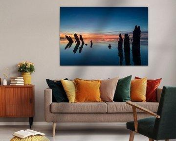 Coucher de soleil coloré sur la mer des Wadden sur Sjoerd van der Wal