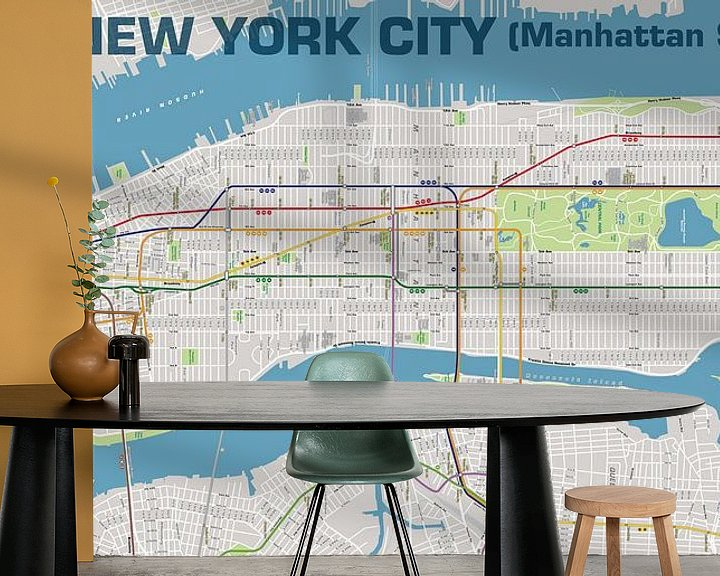 Impression: New York City, Plan métro Manhattan  sur MAPOM Geoatlas