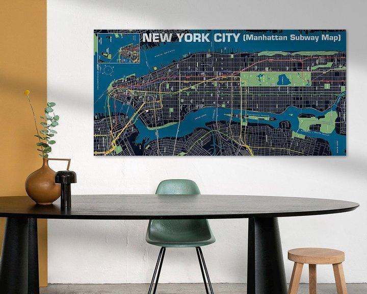 Sfeerimpressie: New York City, Manhattan metro, Nacht van MAPOM Geoatlas