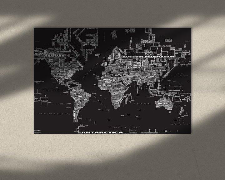 Sfeerimpressie: Wereldkaart Typografie, Zwart van MAPOM Geoatlas