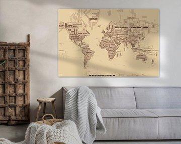 Wereldkaart Typografie, Bruin van MAPOM Geoatlas