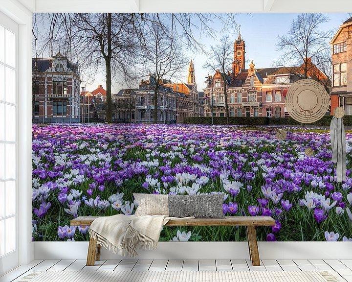 Sfeerimpressie behang:  Lente in Groningen (Emmaplein) van Frenk Volt