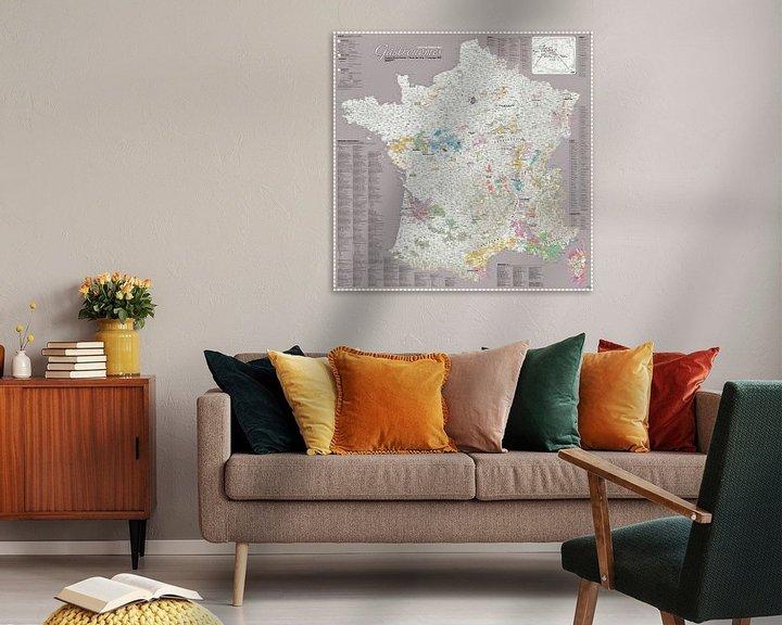 Sfeerimpressie: France Gastronomy Map, Grey van MAPOM Geoatlas