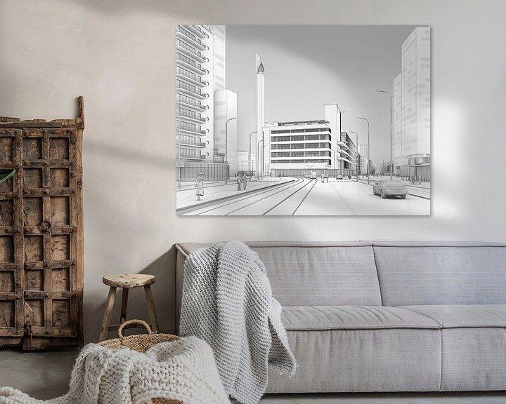Sfeerimpressie: Dudok's Bijenkorf zwart op wit, Rotterdam van Frans Blok