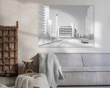 Dudok's Bijenkorf zwart op wit, Rotterdam