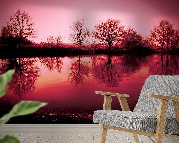 Sfeerimpressie behang: roze wereld van Saskia Cloo-Hartsema