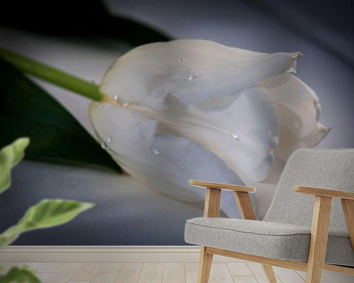 Sfeerimpressie behang: Witte tulp van Saskia Cloo-Hartsema