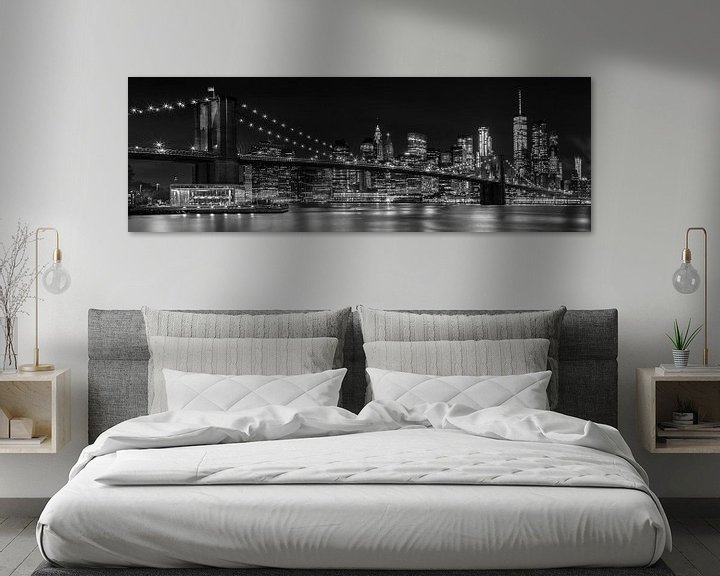 Impression: Skyline de nuit MANHATTAN Brooklyn Bridge Panorama sur Melanie Viola