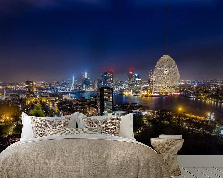 Sfeerimpressie behang: Skyline Rotterdam  van Evert Buitendijk