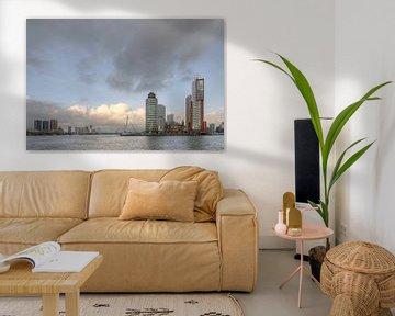 Skyline van Rotterdam overdag. van Johan Kalthof