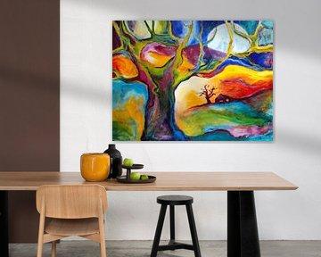 Landschap met boom en boerderijtje kleurrijk von Eveline van Oudbroekhuizen