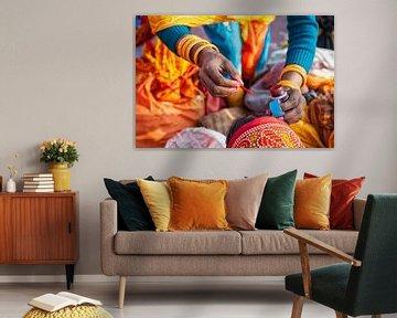 Bewerkte weergave van indiase vrouw die het derde oog aanbrengt bij vriendin. Wout Kok One2expose van Wout Kok