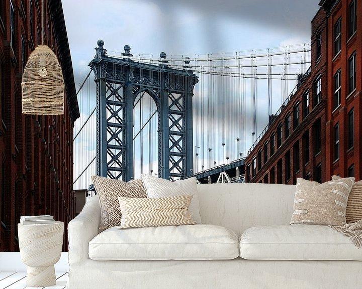 Sfeerimpressie behang: new york city... Manhattanbrug II van Meleah Fotografie