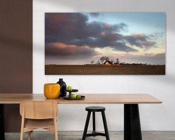Avond in de Noordpolder van Groningen van Bo Scheeringa Photography