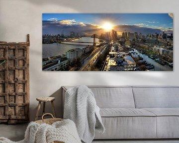 Rotterdam zonsondergang panorama van Dennis van de Water