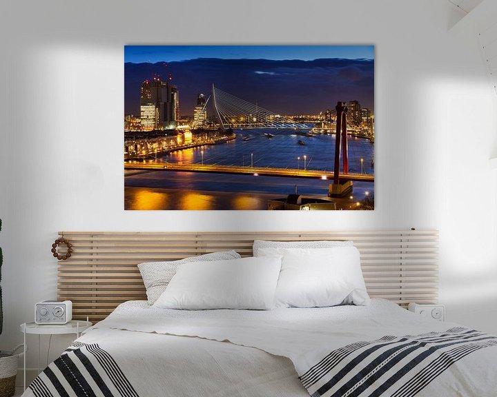 Sfeerimpressie: Rotterdamse bruggen in de avond van Dennis van de Water