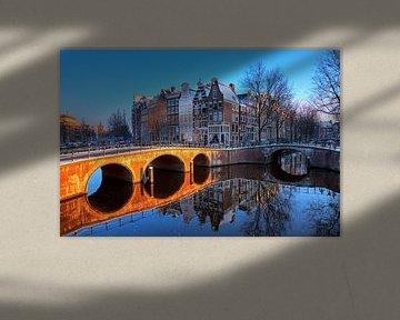 Keizersgracht brug reflectie  van Dennis van de Water