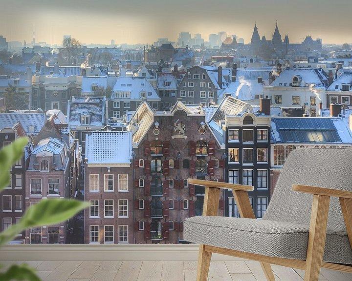 Sfeerimpressie behang: Amsterdam uitzicht kalvertoren van Dennis van de Water
