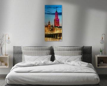 Neue Turm in Kampen am Abend von Sjoerd van der Wal
