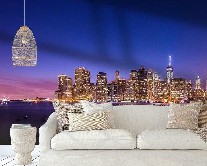 Sfeerimpressie behang: New York by Night 1 van Lex Scholten