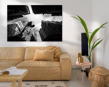 Wallstreet New York schwarz-weiß von Lex Scholten