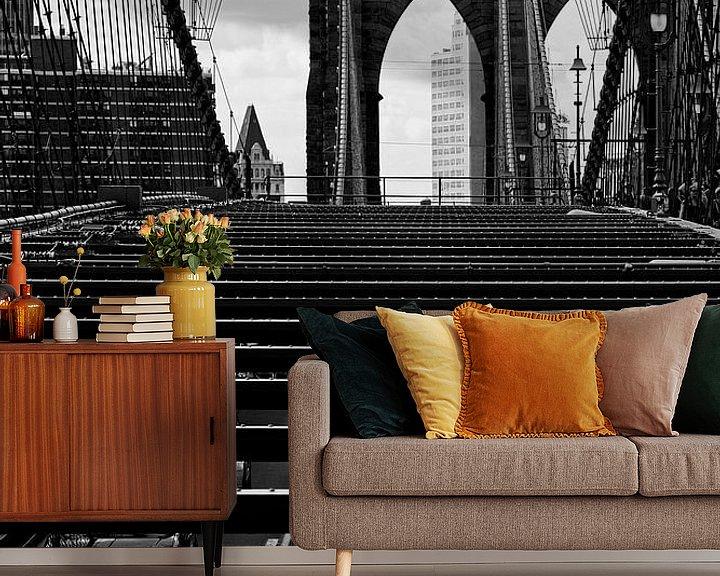 Sfeerimpressie behang: new york city ... brooklyn bridge IV van Meleah Fotografie