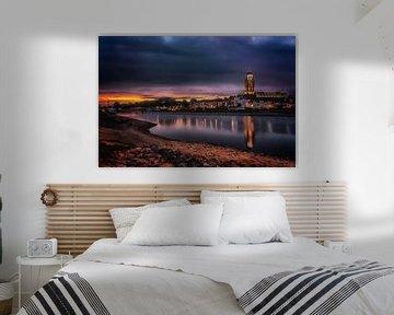 Deventer at Night, skyline met IJssel van Jan Haitsma