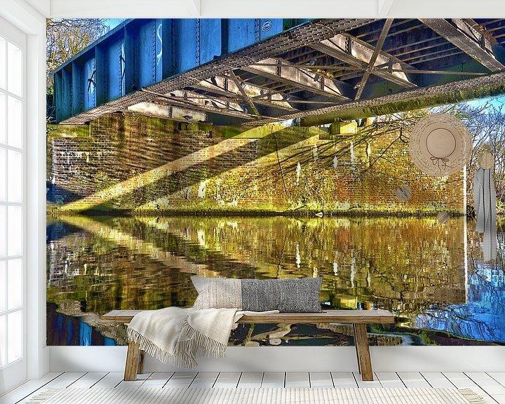 Sfeerimpressie behang: Brug over het Grand Union Canal, England van Frans Blok