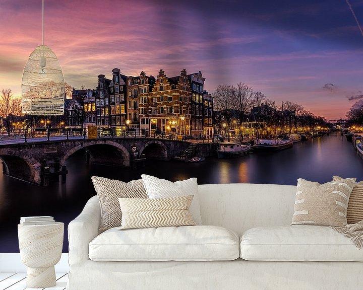 Sfeerimpressie behang: Papiermolensluis Amsterdam van Joram Janssen