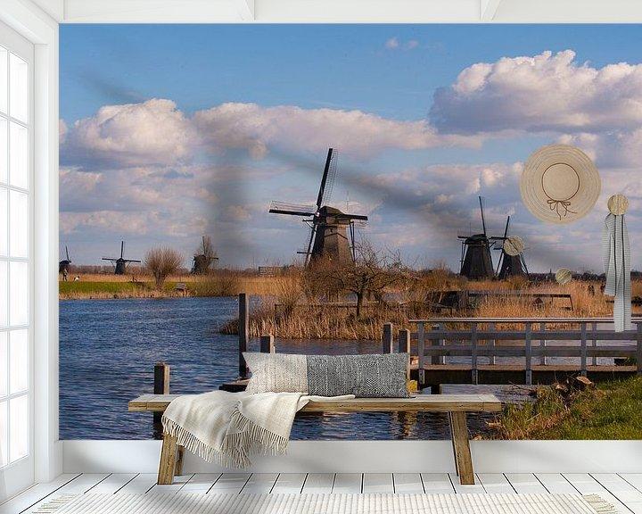 Sfeerimpressie behang: Windmill Landscape Kinderdijk van Brian Morgan