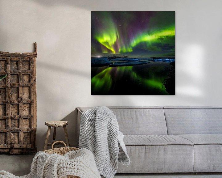 Sfeerimpressie: IJsbergen en noorderlicht: Jökulsárlón (IJsland) (vierkant) van Prachtt