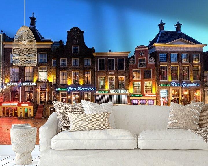 Sfeerimpressie behang: Zuidwand Grote Markt Groningen van Frenk Volt