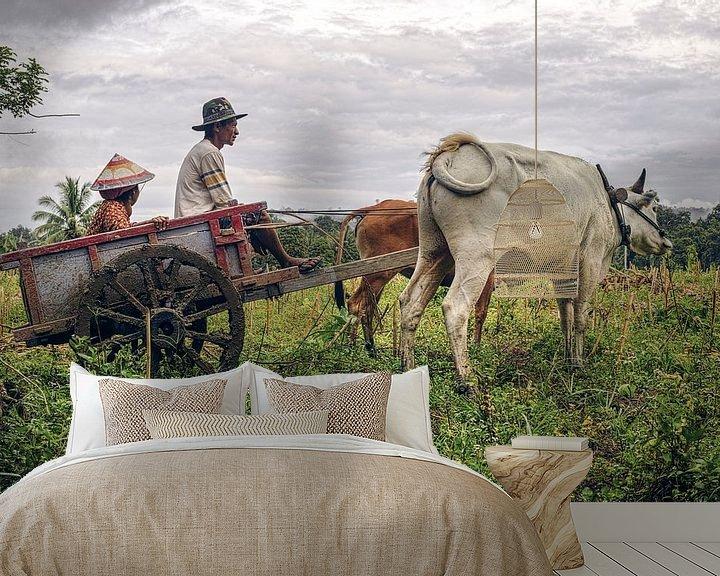 Sfeerimpressie behang: Boeren wagen van Bastiaan Schuit