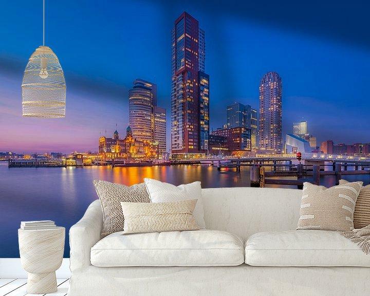 Sfeerimpressie behang: Kop van Zuid - Blauw uur van Prachtig Rotterdam