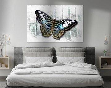 Vlinder op het raam, vrijheid? van Rietje Bulthuis