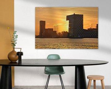 Zonsondergang Lloydpier Rotterdam van Frans Blok