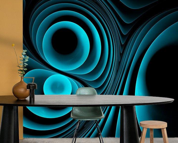 Sfeerimpressie behang: Melody in blauw van Max Steinwald