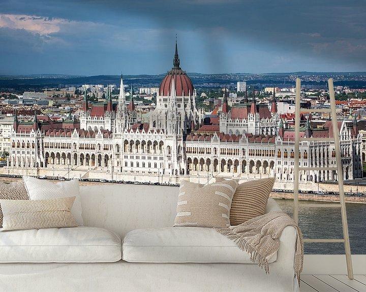 Sfeerimpressie behang: Parlementsgebouw in Boedapest van Leon Weggelaar