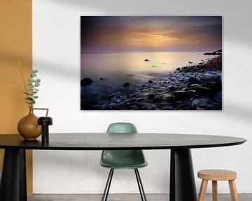 Zonsondergang Egeische zee Samos Griekenland van John Leeninga