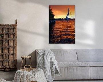 Oranje kleuren bij zonsopkomst in Rotterdam van Michel van Kooten