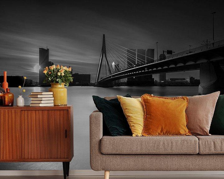Sfeerimpressie behang: Rotterdam,  The sun behind the city van 010 Raw