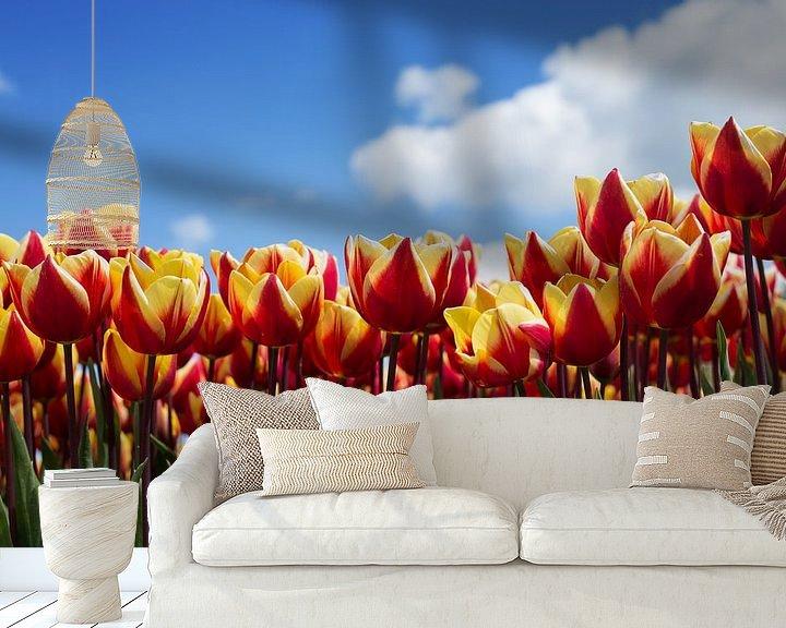 Sfeerimpressie behang: Hollands tulpenveld van Saskia Bon