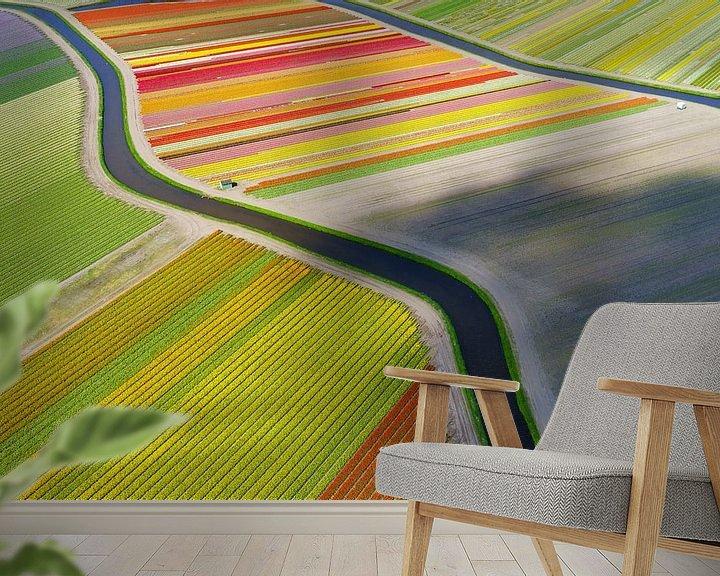 Sfeerimpressie behang: Tulpaner, kanaler, molnskugga. van Anders Andersson