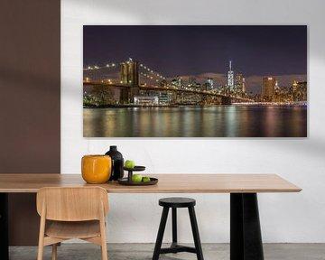 New York Skyline - Brooklyn Bridge (2) van Tux Photography