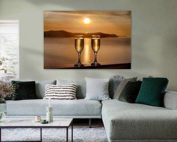 Santorini Sunset Celebration van Erwin Blekkenhorst