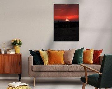 Zonsondergang op het strand van Westkapelle van MSP Canvas
