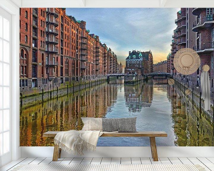 Sfeerimpressie behang: Hamburg: die Speicherstadt oost van Frans Blok