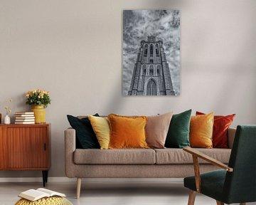 Grote Kerk in Dordrecht - zwart-wit van Tux Photography