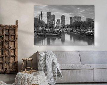 Haringvliet Rotterdam in zwartwit